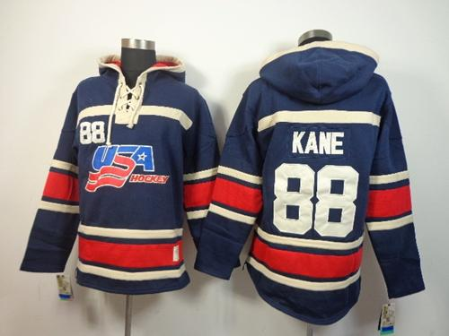 Olympic Team USA #88 Patrick Kane Navy Blue Throwback Sawyer Hooded Sweatshirt Stitched NHL Jersey