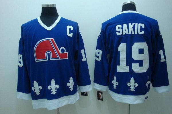 Nordiques #19 Joe Sakic Stitched CCM Throwback Blue NHL Jersey