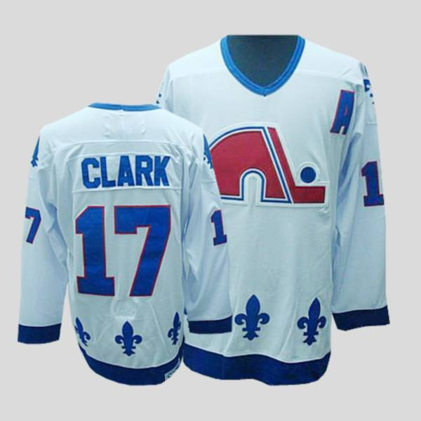 Nordiques #17 Wendel Clark Stitched CCM Throwback white NHL Jersey