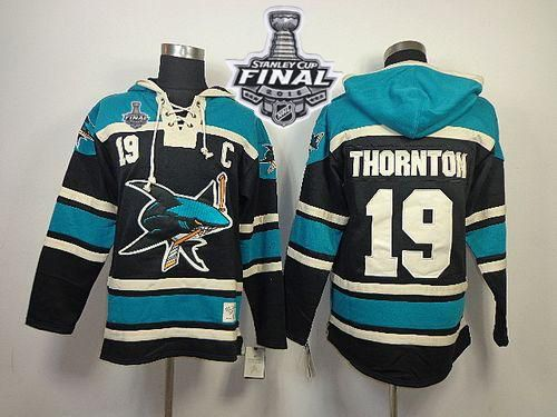 Sharks #19 Joe Thornton Black Sawyer Hooded Sweatshirt 2016 Stanley Cup Final Patch Stitched NHL Jersey