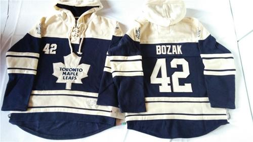 Maple Leafs #42 Tyler Bozak Blue Sawyer Hooded Sweatshirt Stitched NHL Jersey