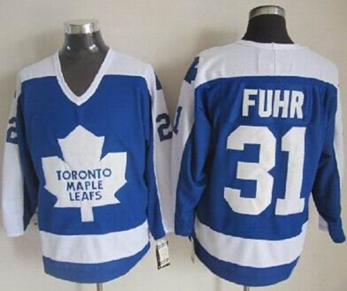 Maple Leafs #31 Grant Fuhr Blue/White CCM Throwback Stitched NHL Jersey