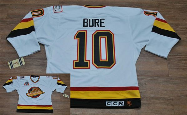 Canucks #10 Pavel Bure Stitched White CCM Throwback Vintage NHL Jersey