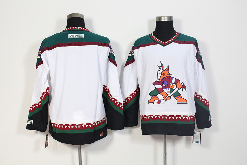 Men's Arizona Coyotes White CCM Throwback Stitched NHL Jersey