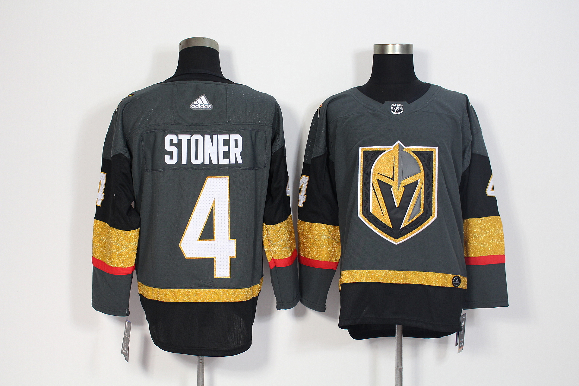 Men's Adidas Vegas Golden Knights #4 Clayton Stoner Grey Stitched NHL Jersey