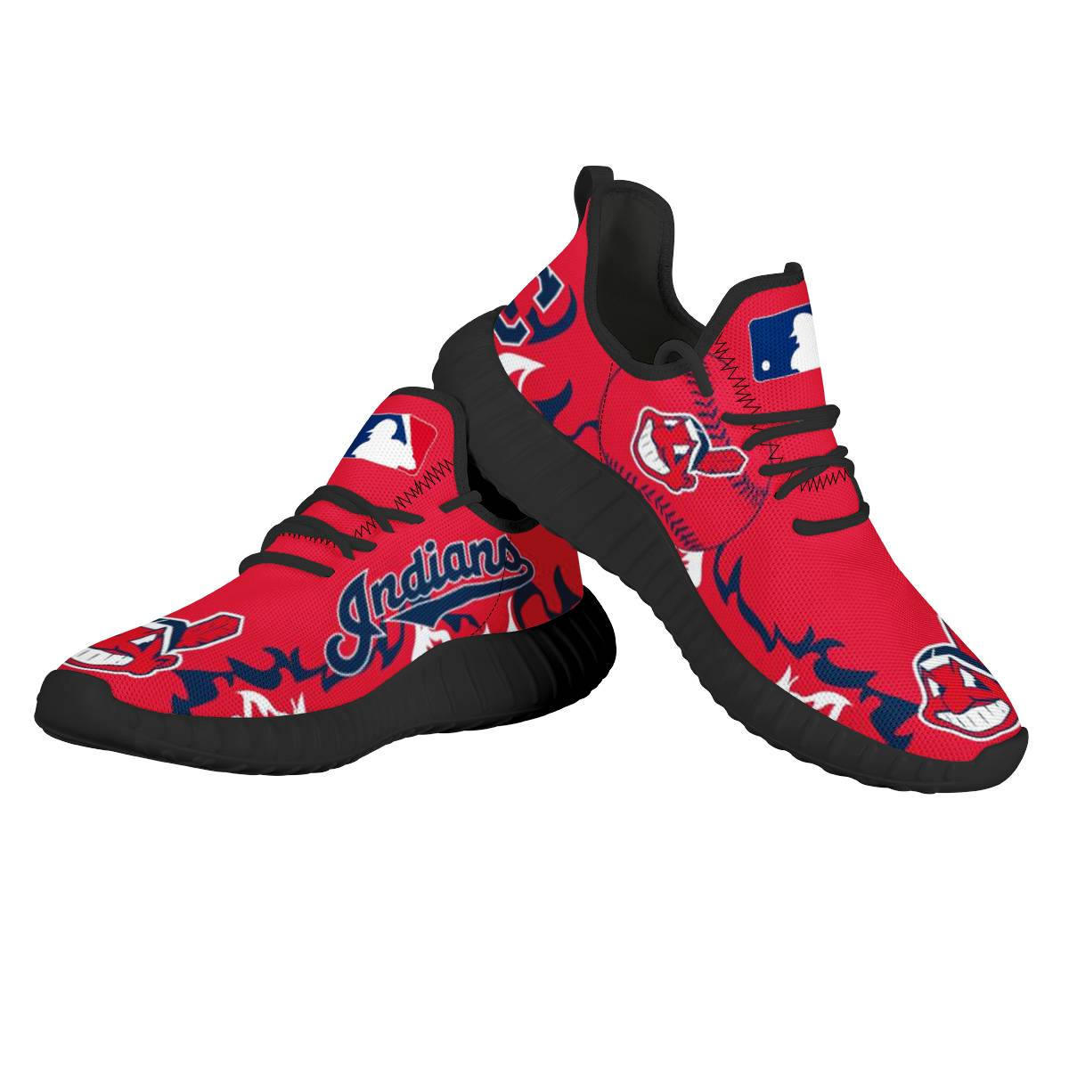 Women's Cleveland Indians Mesh Knit Sneakers/Shoes 001