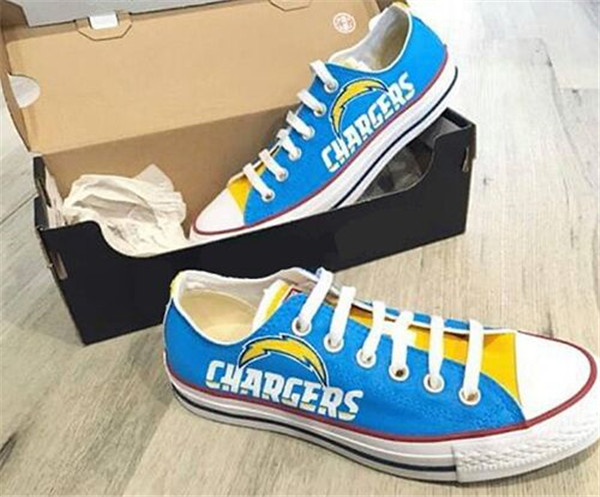 Women's And Youth Los Angeles Chargers Repeat Print Low Top Sneakers 003