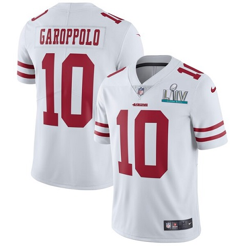 Men's San Francisco 49ers #10 Jimmy Garoppolo White Super Bowl LIV Vaper Untouchable Limited Stitched NFL Jersey