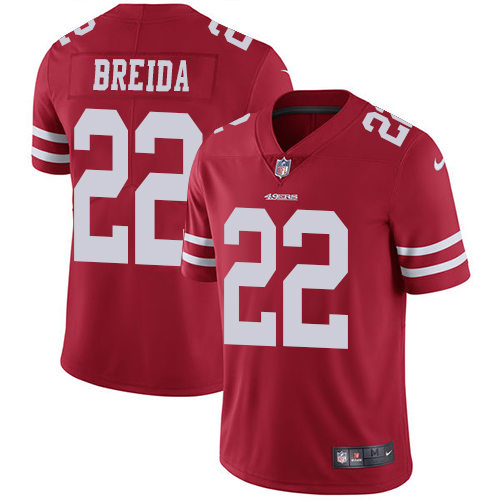 Men's San Francisco 49ers #22 Matt Breida Red Vapor Untouchable Limited Stitched NFL Jersey