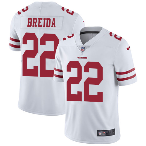 Men's San Francisco 49ers #22 Matt Breida White Vapor Untouchable Limited Stitched NFL Jersey