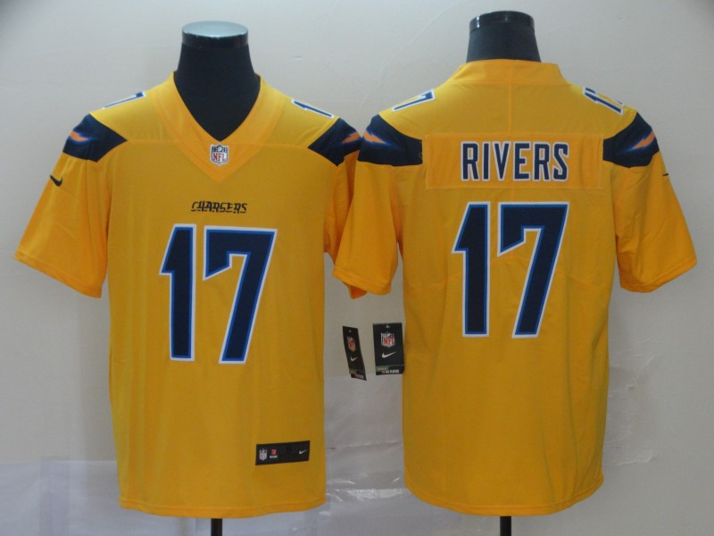 Men's Los Angeles Chargers #17 Philip Rivers 2019 Gold Inverted Legend Stitched NFL Jersey