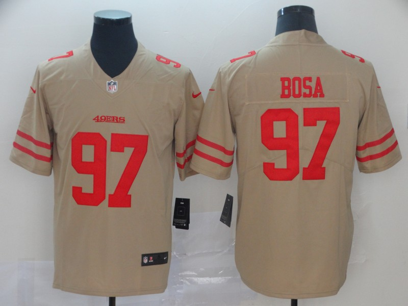 Men's San Francisco 49ers #97 Nick Bosa Gold Inverted Legend Stitched NFL Jersey
