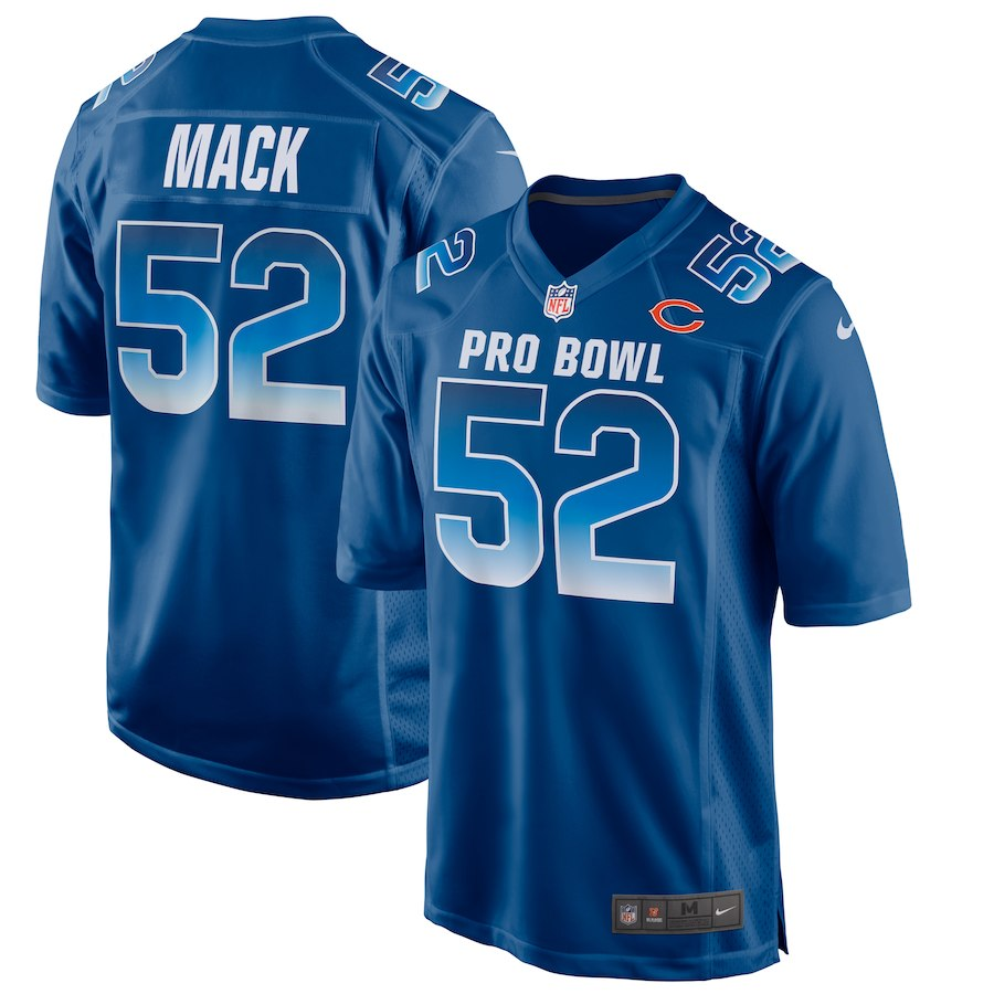 465ebae9fbf Men's NFC Chicago Bears #52 Khalil Mack Royal 2019 Pro Bowl NFL Game Jersey