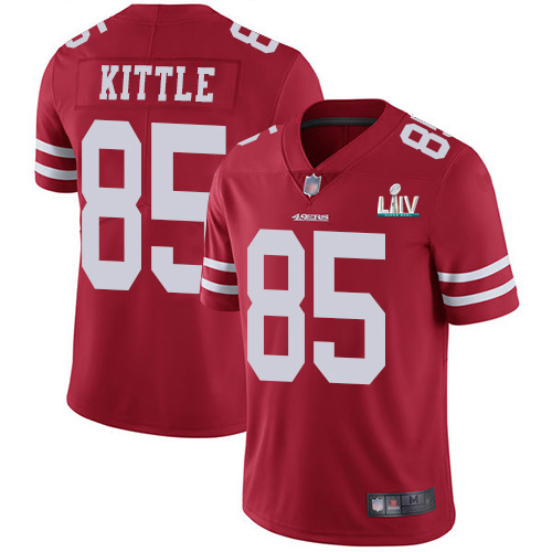 Men's San Francisco 49ers #85 George Kittle Red Super Bowl LIV Vaper Untouchable Limited Stitched NFL Jersey