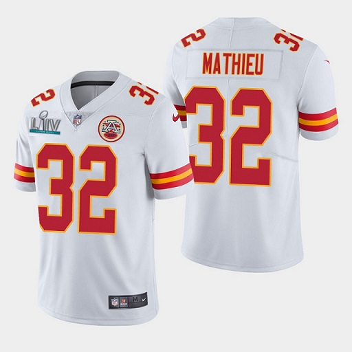 Men's Kansas City Chiefs #32 Tyrann Mathieu Super Bowl LIV White Vapor Untouchable Limited Stitched NFL Jersey