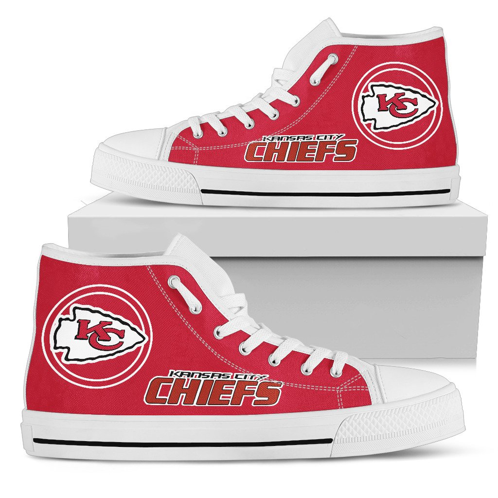 Women's NFL Kansas City Chiefs Repeat Print High Top Sneakers 007
