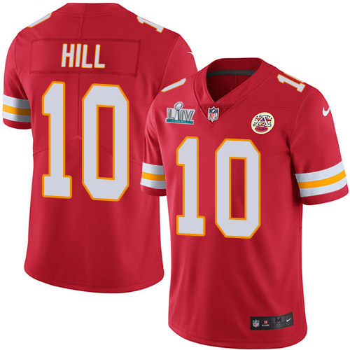 Men's Kansas City Chiefs #10 Tyreek Hill Super Bowl LIV Red Vapor Untouchable Limited Stitched NFL Jersey