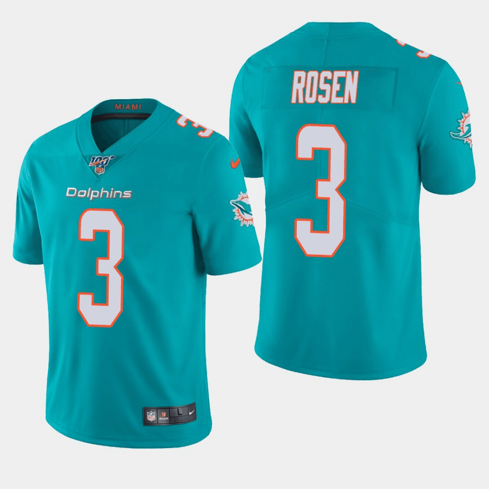Men's Miami Dolphins #3 Josh Rosen Aqua 2019 100th Season Vapor Untouchable Limited Stitched NFL Jersey