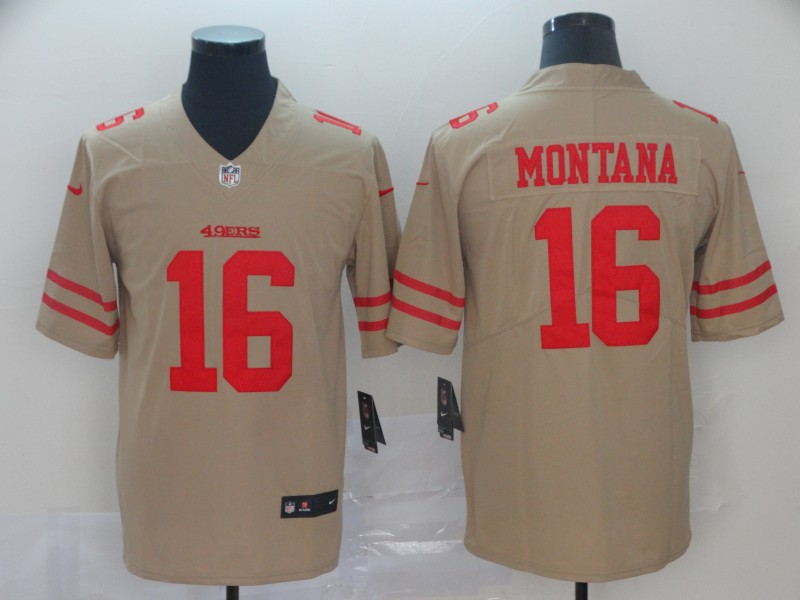 Men's San Francisco 49ers #16 Joe Montana Gold Inverted Legend Stitched NFL Jersey