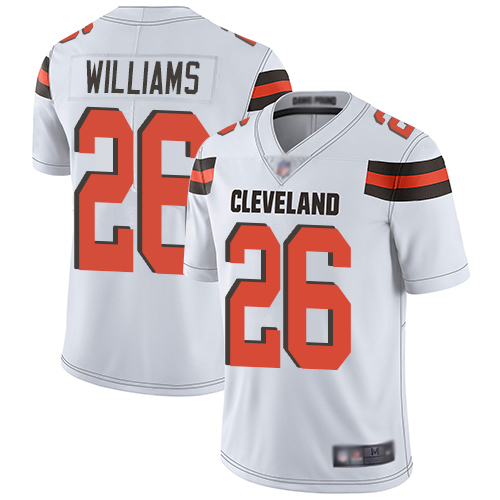 Men's Cleveland Browns #26 Greedy Williams White Vapor Untouchable Limited Stitched NFL Jersey