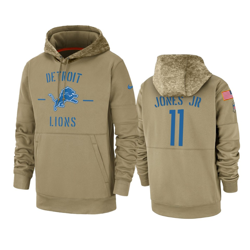 Men's Detroit Lions #11 Marvin Jones Jr. Tan 2019 Salute to Service Sideline Therma Pullover Hoodie