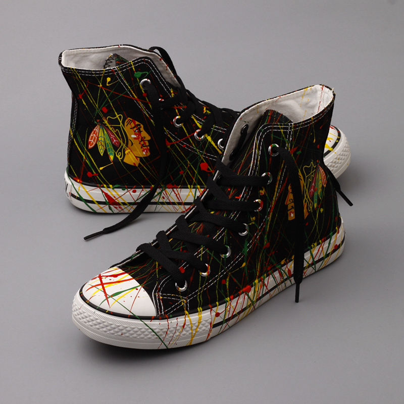 Women's Chicago Blackhawks Repeat Print High Top Sneakers 002