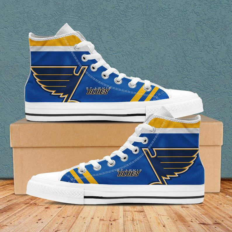 Women's And Youth St. Louis Blues Repeat Print High Top Sneakers 005