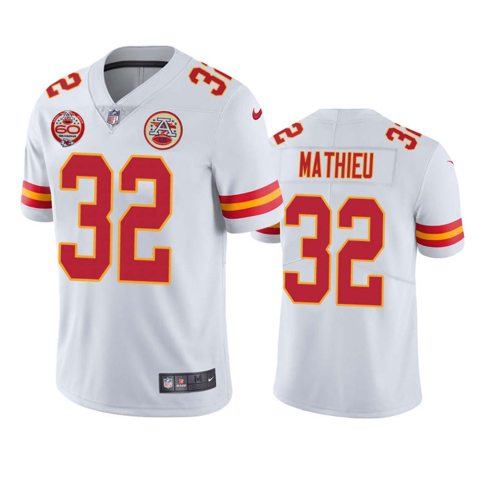 Men's Kansas City Chiefs #32 Tyrann Mathieu White 2019 60th Anniversary Limited Stitched NFL Jersey