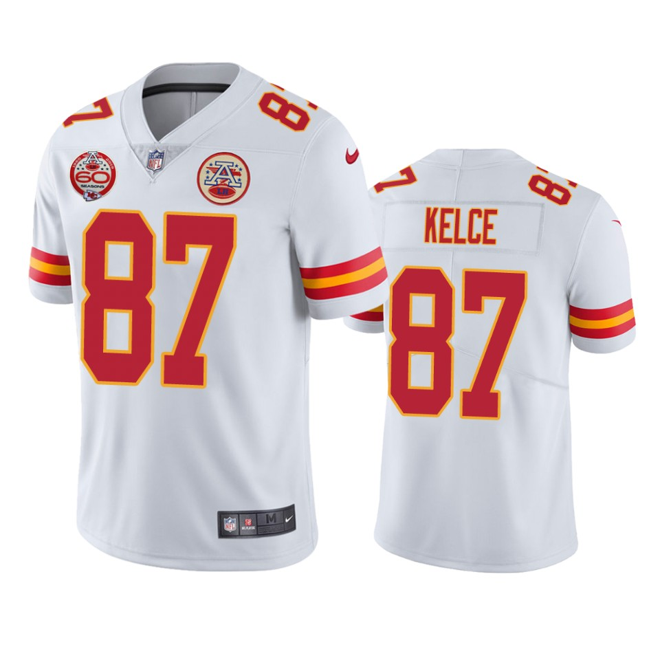 Men's Kansas City Chiefs #87 Travis Kelce White 2019 60th Anniversary Limited Stitched NFL Jersey