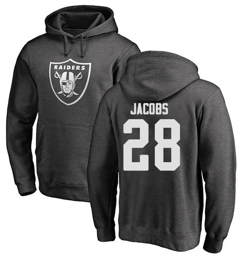 Men's Oakland Raiders #28 Josh Jacobs Black One Color Ash NFL Pullover Hoodie