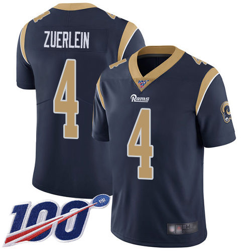 Men's Los Angeles Rams #4 Greg Zuerlein 2019 100th Season Navy Vapor Untouchable Limited Stitched NFL Jersey