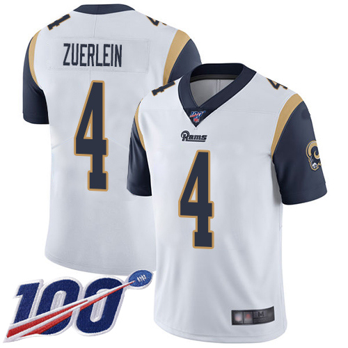 Men's Los Angeles Rams #4 Greg Zuerlein 2019 100th Season White Vapor Untouchable Limited Stitched NFL Jersey