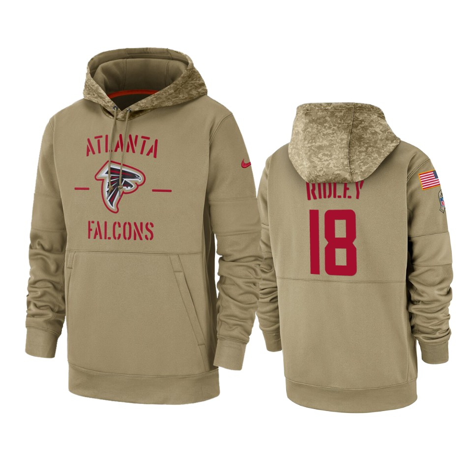 Men's Atlanta Falcons #18 Calvin Ridley Tan 2019 Salute to Service Sideline Therma Pullover Hoodie