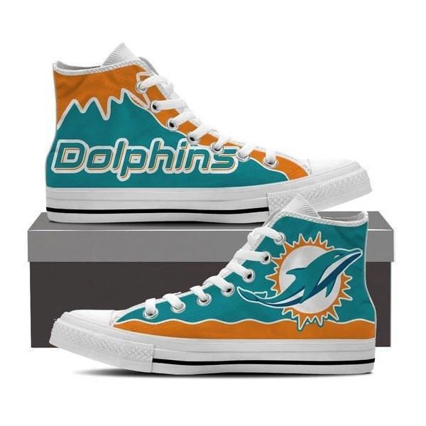 Women's NFL Miami Dolphins Repeat Print High Top Sneakers 001