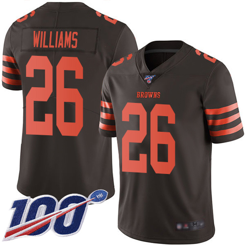 Men's Cleveland Browns #26 Greedy Williams 2019 Brown 100th Season Color Rush Limited Stitched NFL Jersey