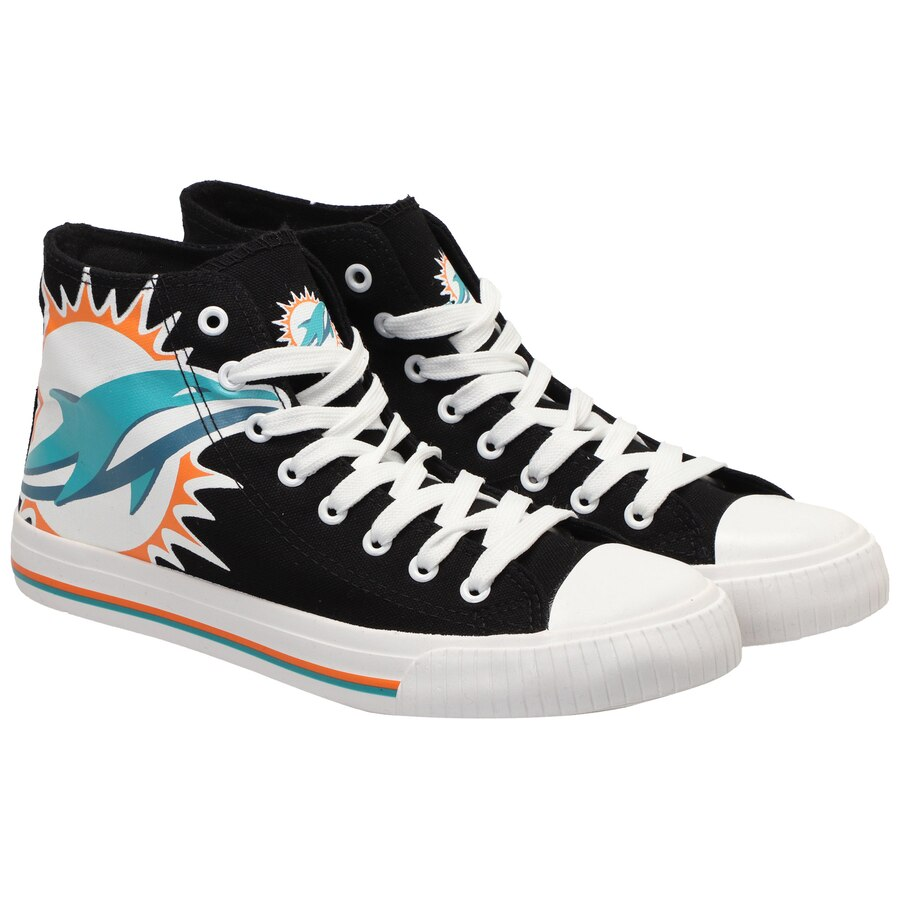 Women's NFL Miami Dolphins Repeat Print High Top Sneakers 006