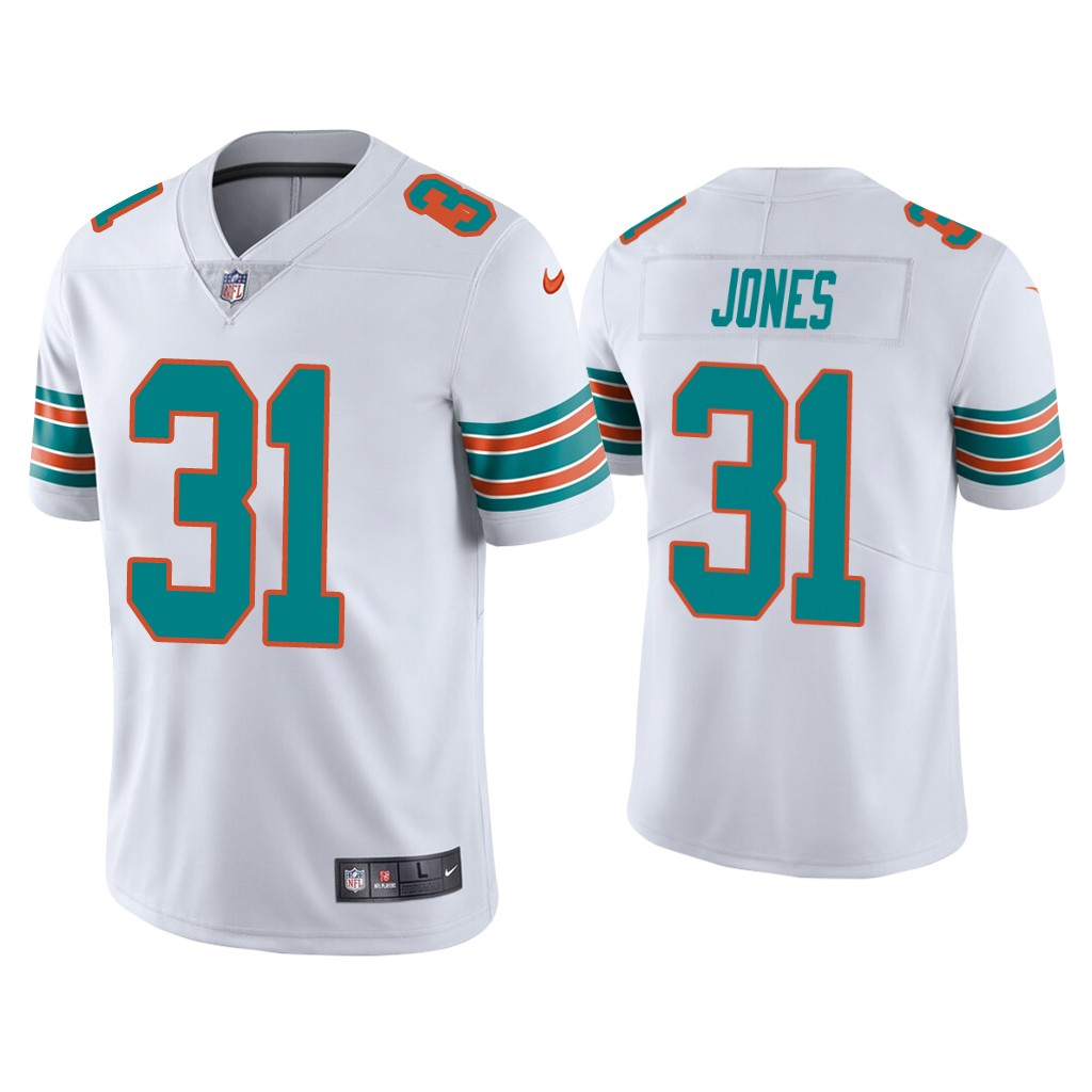Men's Miami Dolphins #31 Byron Jones 2020 White Vapor Limited Stitched Jersey