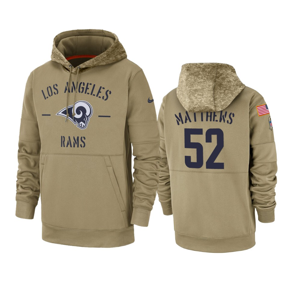 Men's Los Angeles Rams #52 Clay Matthews Tan 2019 Salute to Service Sideline Therma Pullover Hoodie