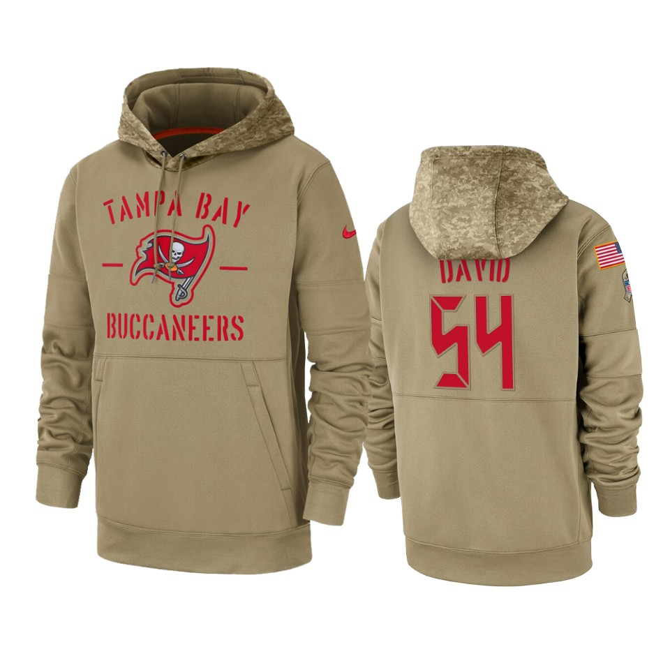 Men's Tampa Bay Buccaneers #54 Lavonte David Tan 2019 Salute to Service Sideline Therma Pullover Hoodie