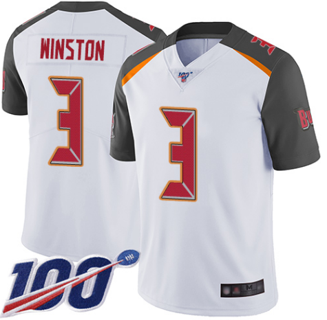 Men's Tampa Bay Buccaneers #3 Jameis Winston White 2019 100th Season Vapor Untouchable Limited Stitched NFL Jersey
