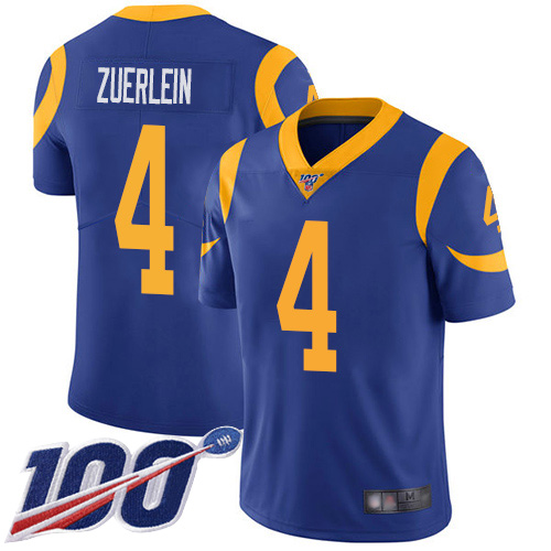 Men's Los Angeles Rams #4 Greg Zuerlein 2019 100th Season Blue Vapor Untouchable Limited Stitched NFL Jersey