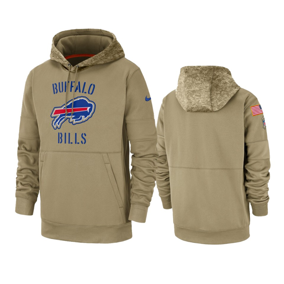 Men's Buffalo Bills Tan 2019 Salute to Service Sideline Therma Pullover Hoodie