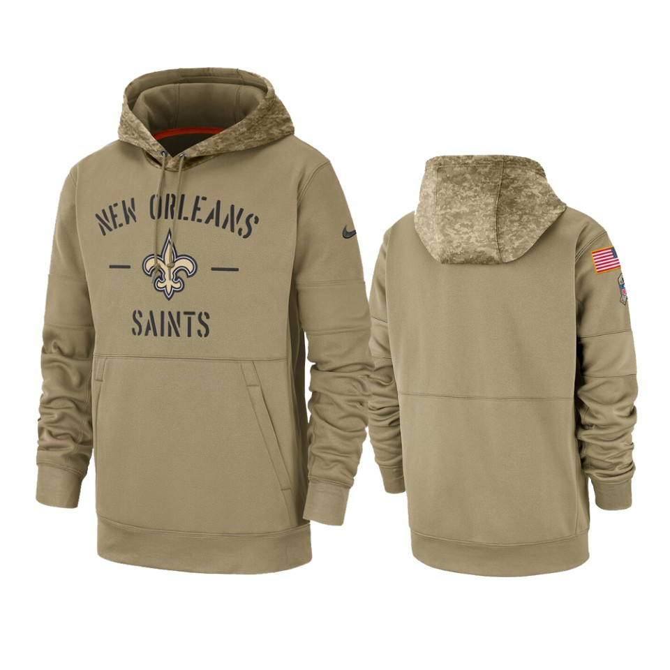Men's New Orleans Saints Tan 2019 Salute to Service Sideline Therma Pullover Hoodie