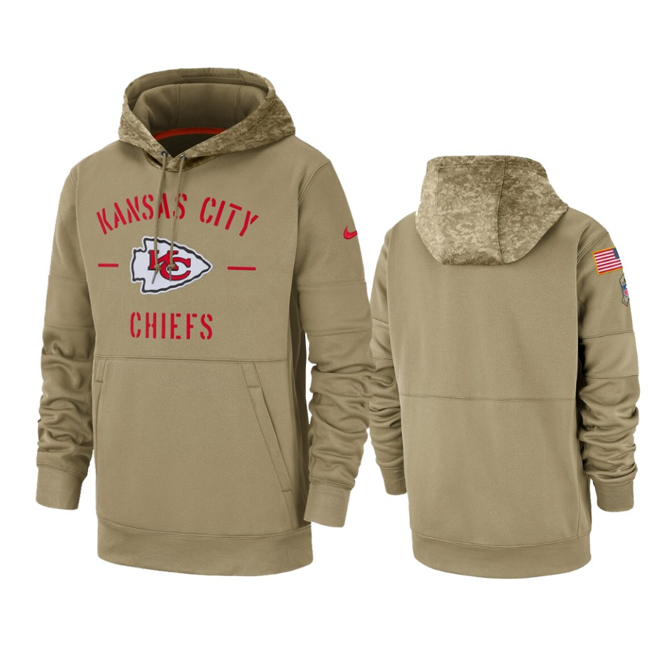 Men's Kansas City Chiefs Tan 2019 Salute to Service Sideline Therma Pullover Hoodie