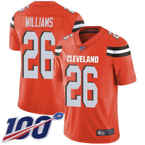 Men's Cleveland Browns #26 Greedy Williams 2019 Orange 100th Season Vapor Untouchable Limited Stitched NFL Jersey