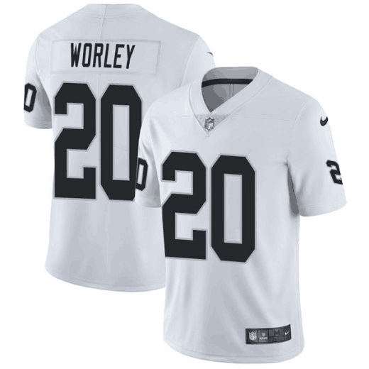 Men's Oakland Raiders #20 Daryl Worley White Vapor Untouchable Limited Stitched NFL Jersey