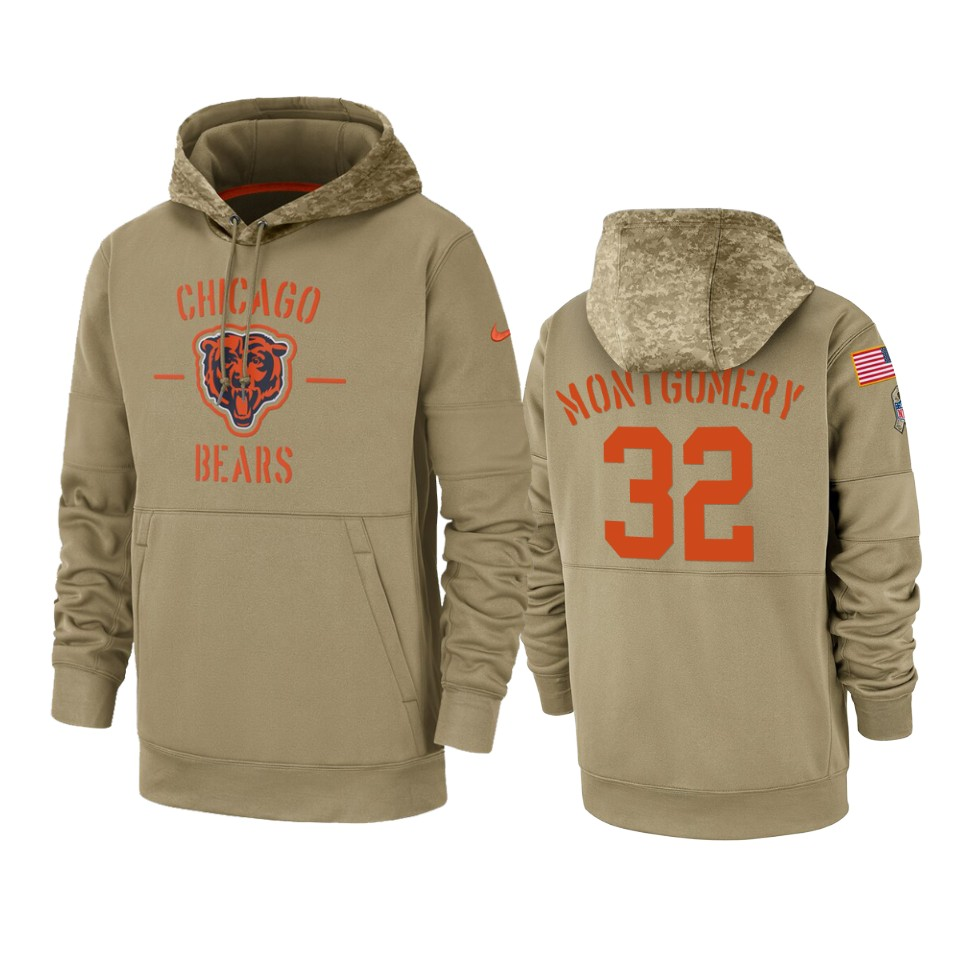 Men's Chicago Bears #32 David Montgomery Tan 2019 Salute to Service Sideline Therma Pullover Hoodie