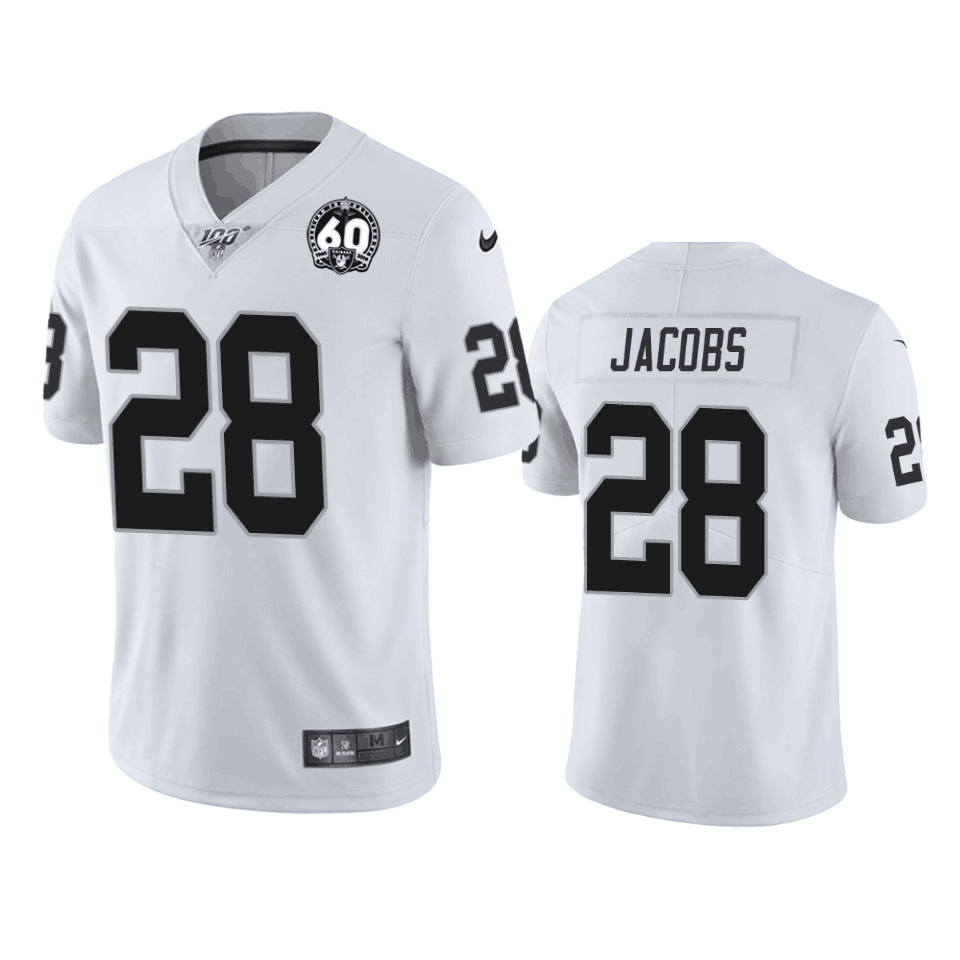 Men's Oakland Raiders #28 Josh Jacobs White 100th Season With 60 Patch Vaper Limited Stitched NFL Jersey