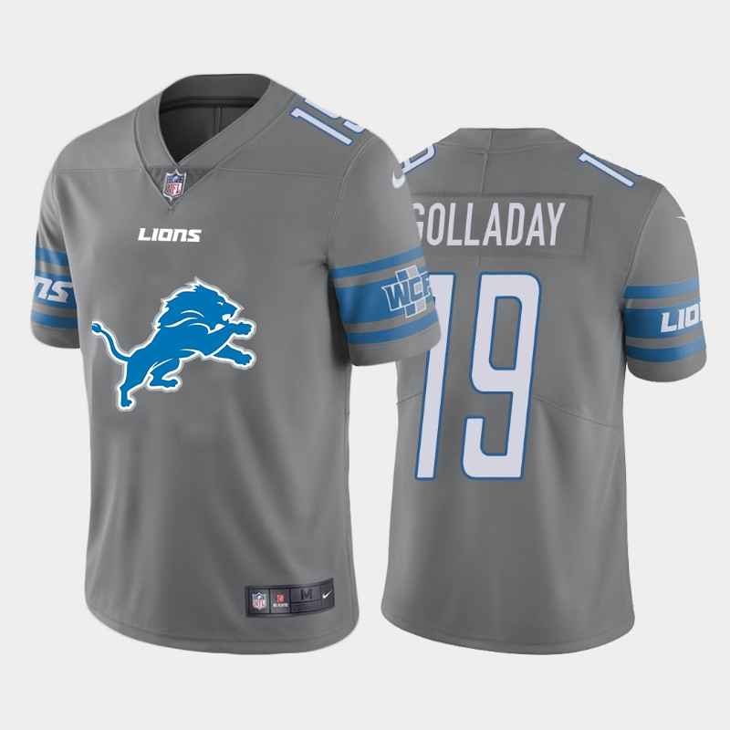 Men's Detroit Lions #19 Kenny Golladay Grey Team Big Logo Limited Stitched Jersey