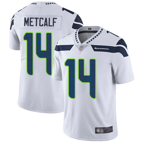 Men's Seattle Seahawks #14 D.K. Metcalf White Vapor Untouchable Limited Stitched NFL Jersey